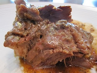 3 pound chuck roast, thawed (I used arm roast)  1 package dry ranch seasoning  1 package brown gravy mix  1 package italian seasoning  3/4 cup water (if using a frozen roast, only use 1/2 cup water)    Combine all 3 packages of dry seasoning and cover all sides of roast with mixture. Place in a slow cooker and pour water over the top. Cover and cook on low for 8 hours, or high for 4 hours.