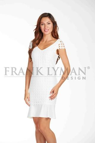 Frank Lyman Spring 2017. Stylish geometric lace dress with open cap sleeve. Proudly Made in Canada