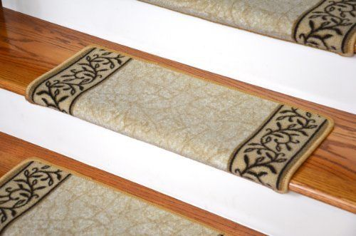 Dean Modern DIY Bullnose Wraparound Non Skid Carpet Stair Treads   Garden  Path Beige Price