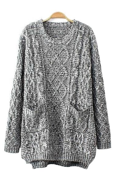 Grey Two-Pocket Cable Knit Sweater