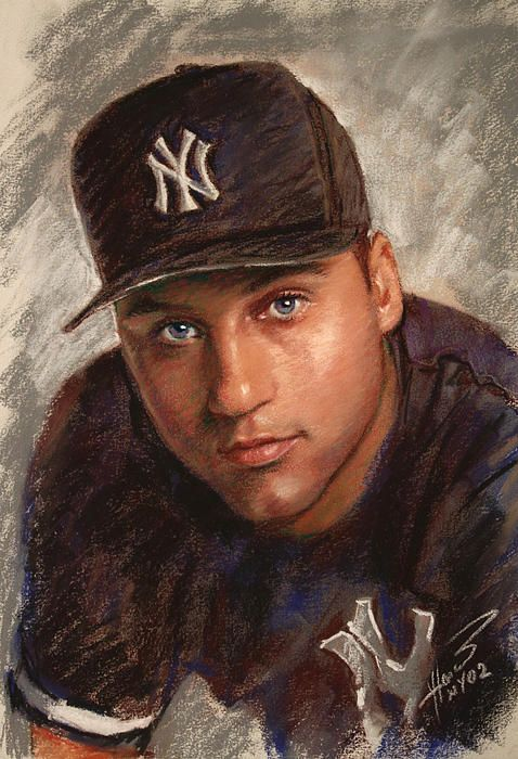 Derek Jeter by Viola El - Derek Jeter Drawing - Derek Jeter Fine Art Prints and Posters for Sale