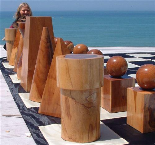 Geometric teak chess set for garden chess board