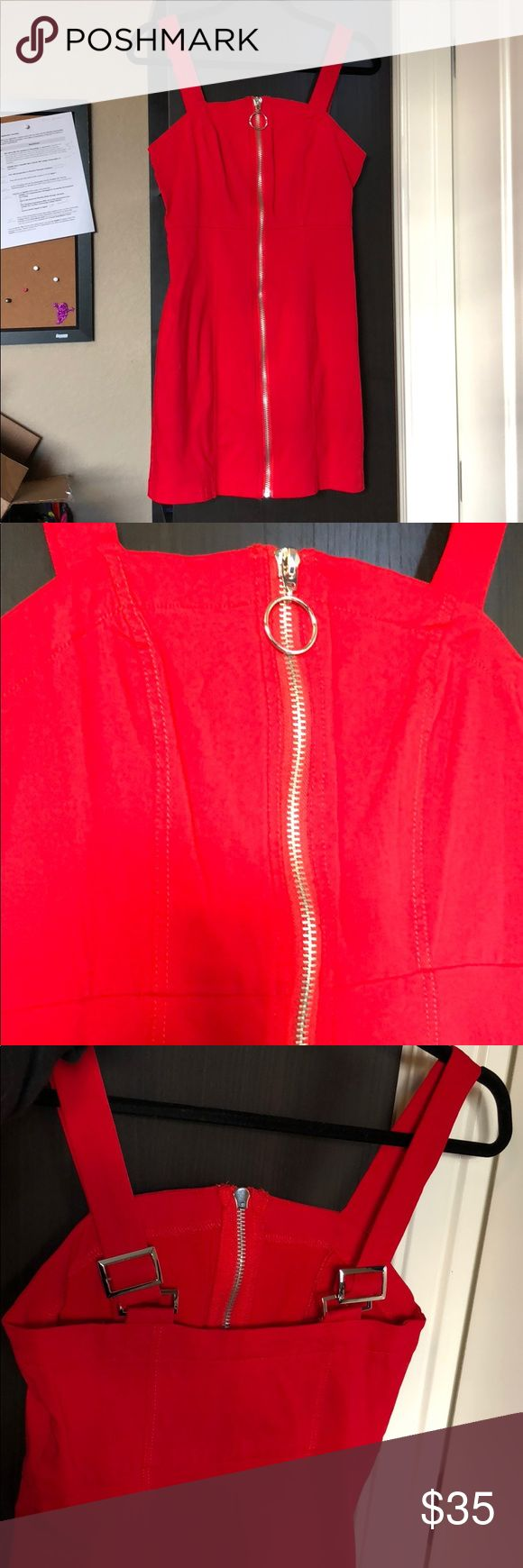 Forever 21 red zip up dress medium New without tags Forever 21 Dresses Mini