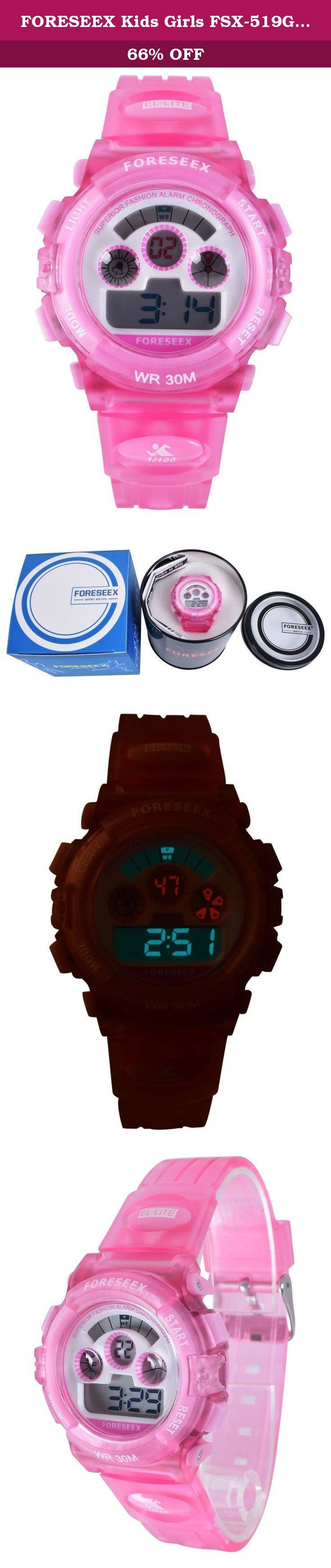FORESEEX Kids Girls FSX-519G Water Resistant with Back Light Alarm Digital Sports Wrist Pink Watch. A better watch for daily use or teaching kids to tell time If you are looking for a watch for daily use or for your kids, you have found the right watch. The watch is durable, digital display, water resistant and has EL back light, long-last battery. It meets all your needs as a daily use watch. You don't need to take off the watch when washing hands, taking shower or swimming (Just don't...