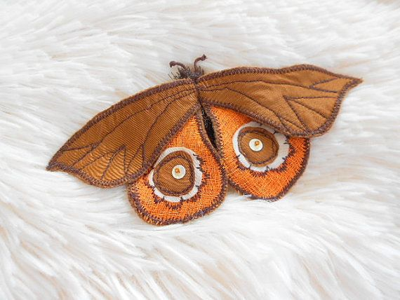 Moth Butterfly Textile Brooch.Art Icon Pin.Handmade art by G2store