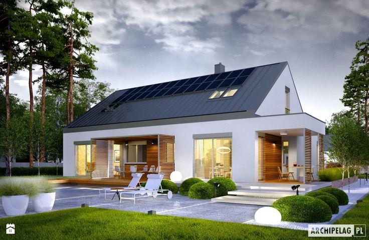 Projekt domu Magnus G2 ENERGO PLUS –widok wieczorny od strony ogrodu - zdjęcie od Pracownia Projektowa ARCHIPELAG - Domy - Styl Nowoczesny - Pracownia Projektowa ARCHIPELAG