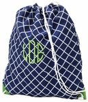 "Monogrammed or personalized gym bag - drawstring backpack is perfect for sports or PE.  Measures 15"" x 18"".  Match it to your backpack for a coordinated back to school look!"