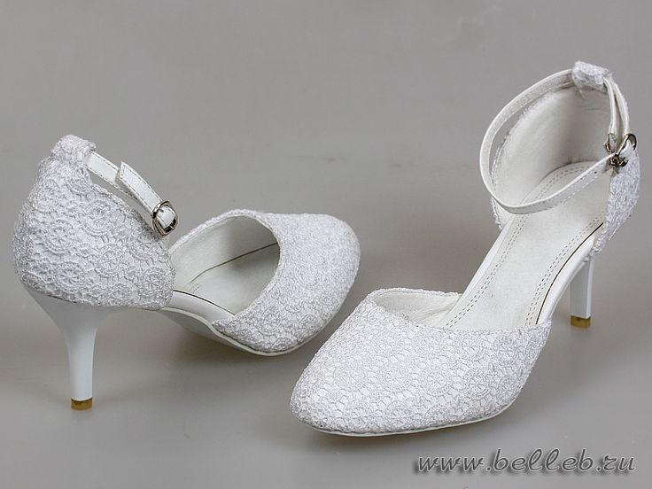 открытые кружевные свадебные туфли белого цвета №199