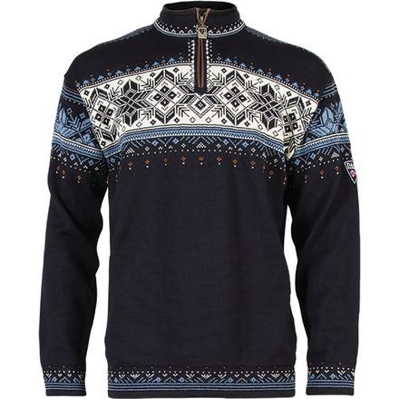 Traditional Norwegian patterns adorn the Dale of Norway Men's Blyfjell Sweater with an authentic ski après style. Its wool comes straight from Norway as well, and it's known for its softness, warmth, and durability. Elk leather adds to the sweater's strength as well as its outdoorsy style. Dale of Norway added a small zipper at the neck for ventilation.