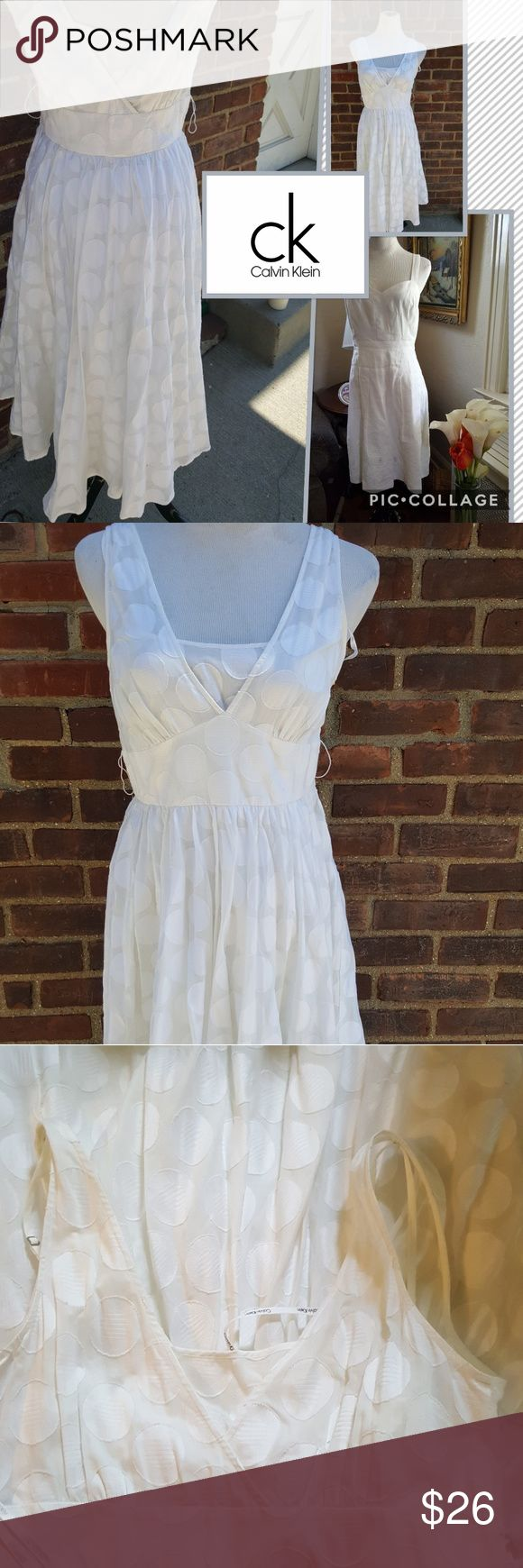 Dreamy cotton Calvin Klein dress 8 Another one of my own that has to go. This is so feminine and comfortable because it is all cotton. 42 inches long and approximately 17 inches under the arms.. Calvin Klein Dresses Midi