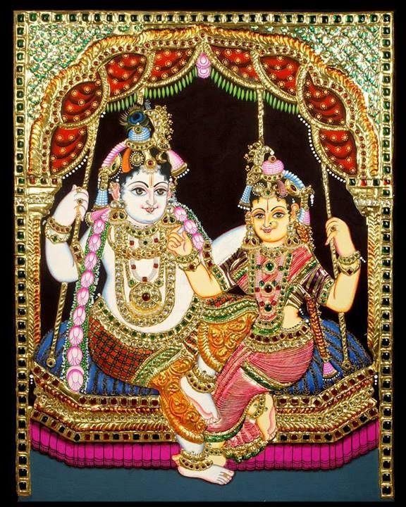 Tanjore Painting - Radha Krishna