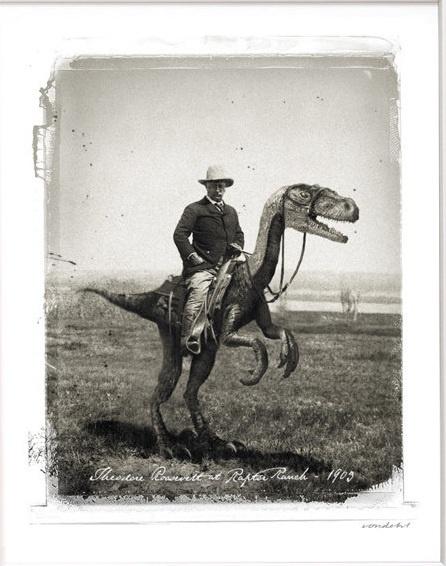teddy roosevelt riding a velociraptor dino love pinterest