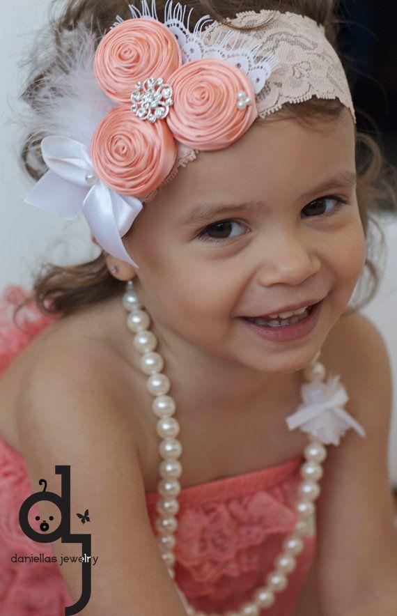 Coral Vintage Headband Baby Girl