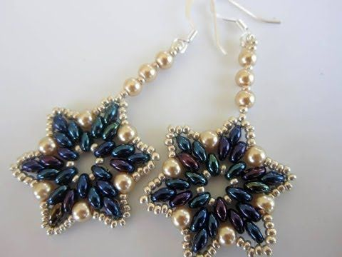 "Earrings - twin beads or superduos and round ""pearls"" -Steps are sub-titled  ~ Seed Bead Tutorials"