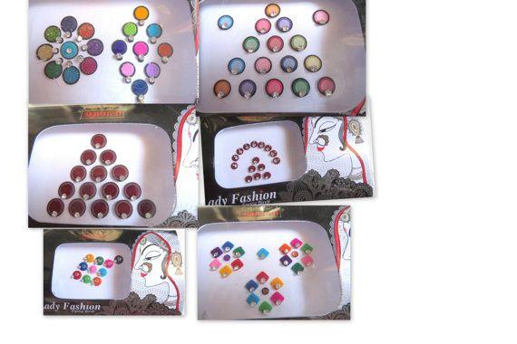 5 pack mixed designer bollywood bridal bindi by CraftyJaipur