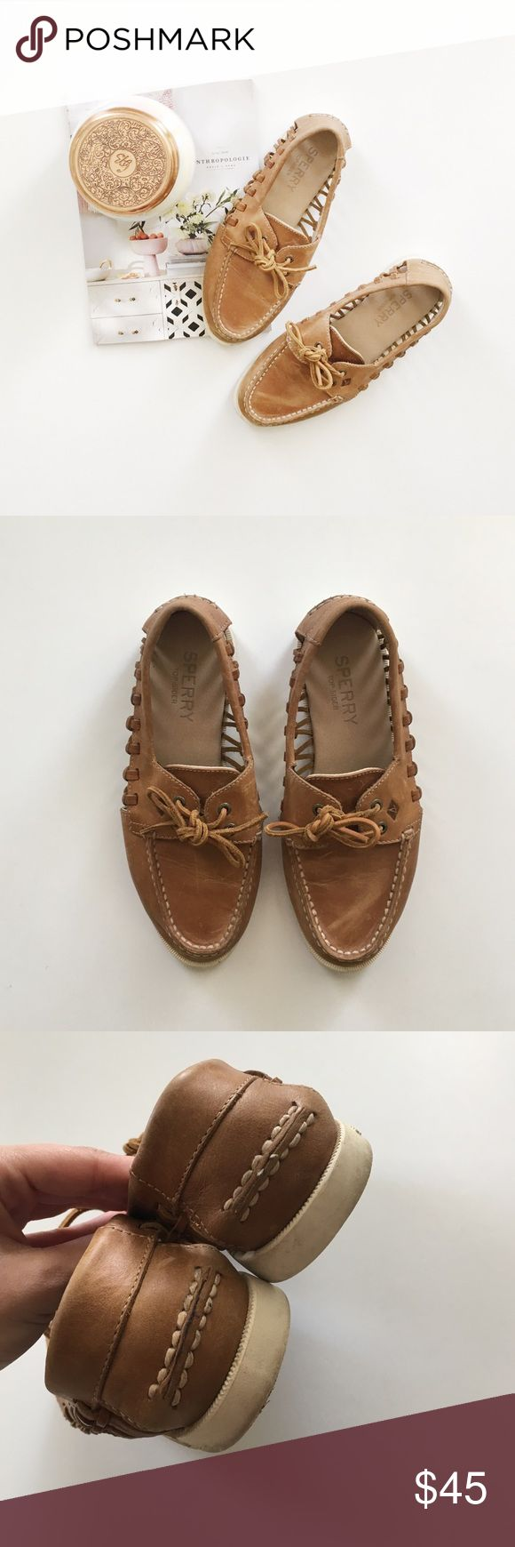 """Sperry Haven Cutout Boat Shoe In Sahara Sperry """"Haven"""" side cutout boat shoes size 7.5  • Does have some scratches and discoloration on bottom from normal wear, price is reflected! • In great used condition with no major flaws • Great for spring and summer! • Make an offer! Sperry Shoes Flats & Loafers"""