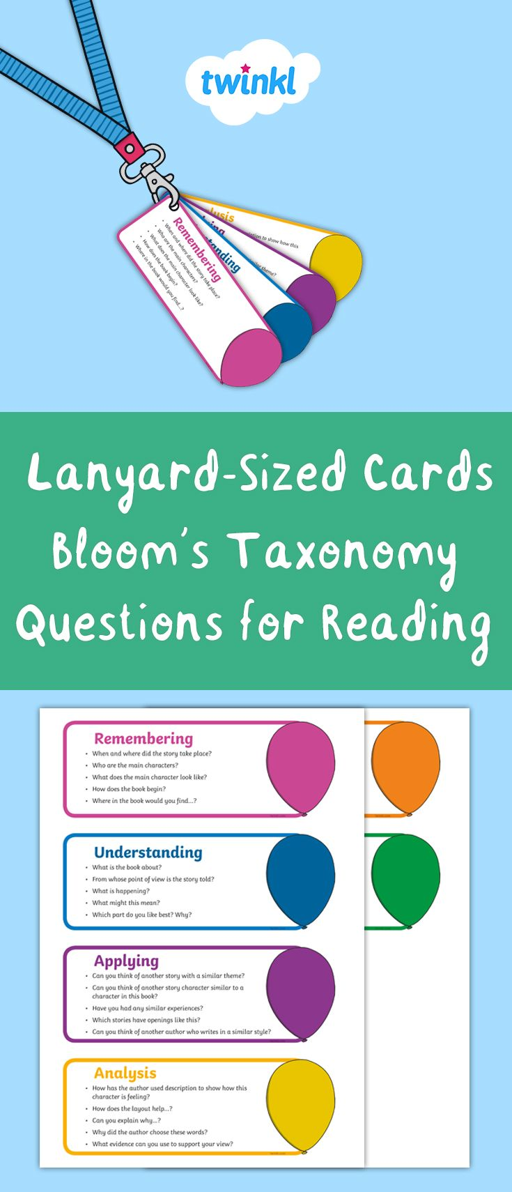 A Lovely Pack Of Bloom S Taxonomy Reading Question Cards