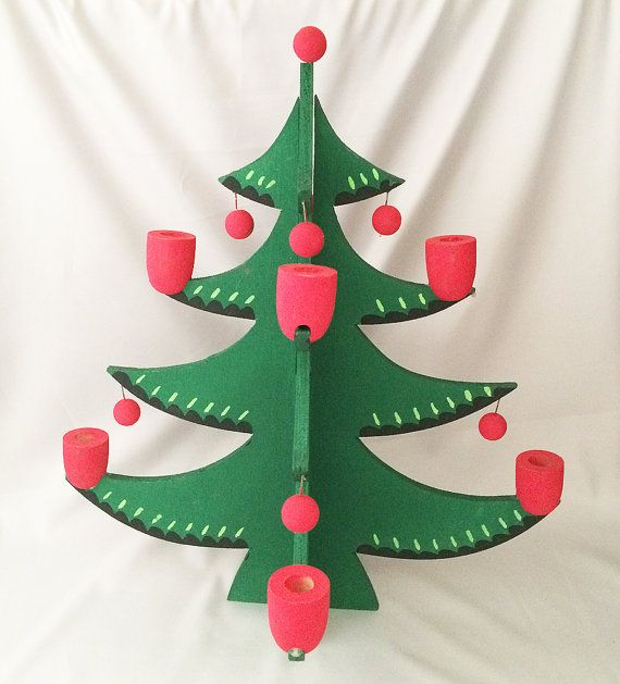 Vintage Wood CHRISTMAS TREE Candle Holder SWEDEN, Vintage Swedish Christmas Tree Candleholder, Wooden Christmas Candle Tree, 1960s - Mint! . . . By JustVintageChristmas . . .Charming vintage 3D wooden Christmas pine tree candle holder, hand made in Sweden, circa 1960s!