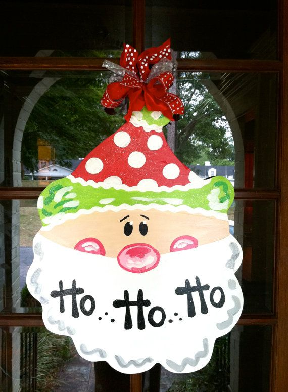 Santa door hanger! So Cute! Totally have to make one!