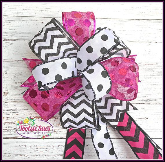 Valentine Bow Black White Pink Polka Dot Chevron Bow Wreath