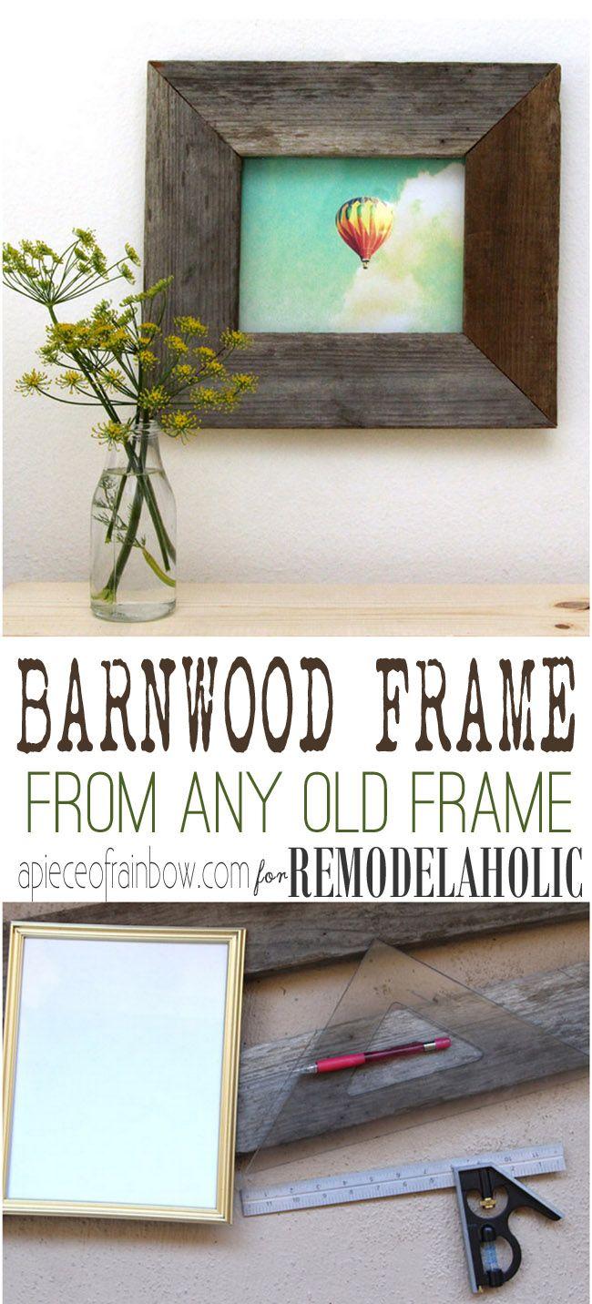 Turn a regular photo frame into a reclaimed barn wood photo frame -- so easy!