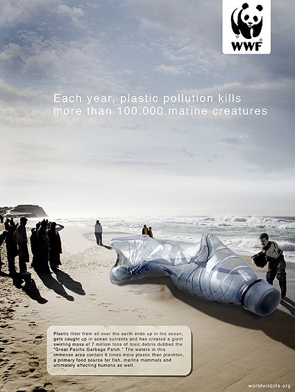WWF Ad. Every year pollution kills more than 100 000 marine creatures.