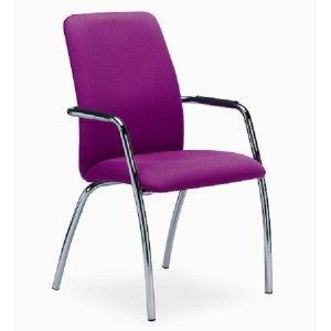 silla de oficina sin ruedas con respaldo alto y brazos
