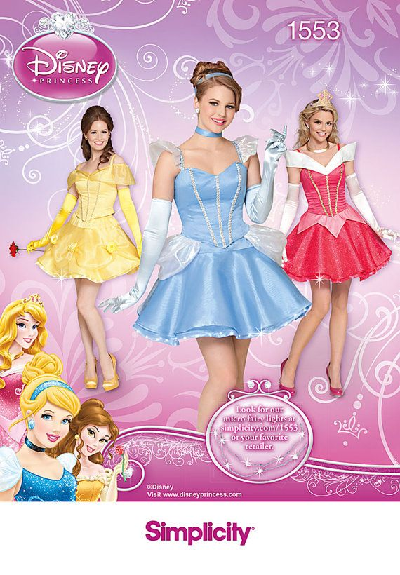 Sexy Disney Princess Costume Patterns Simplicity 1553 Size R5 14, 16, 18, 20, 22  Adult on Etsy, $6.50
