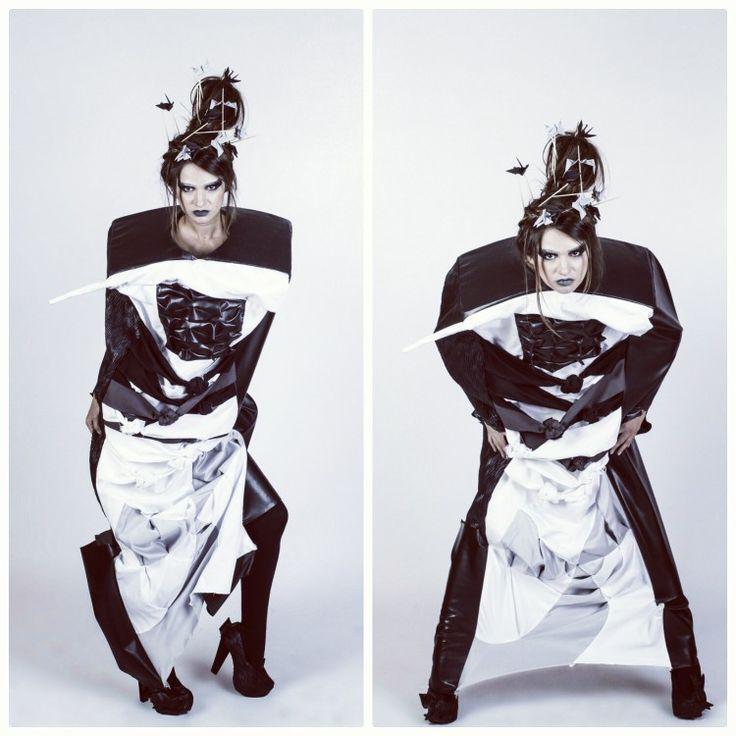#irinaakkaya #unarte #graduation #project #surreal #surrealism #painting #inspiration #fashion #design #bucharest #fabricmanipulation #origami #spiral #3d #box #volume #leather #cotton #dress #trcutting #structure #asymmetric #knots