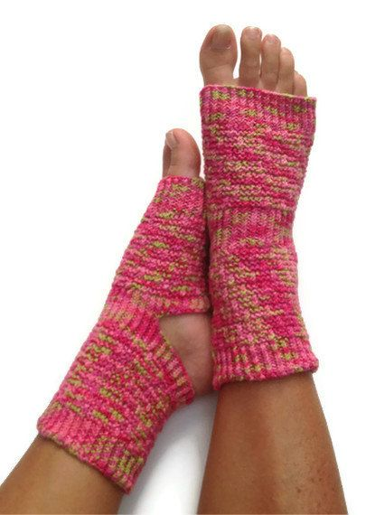 Toeless Yoga Socks Hand Knit in Pink and Green by MadebyMegShop, $30.00