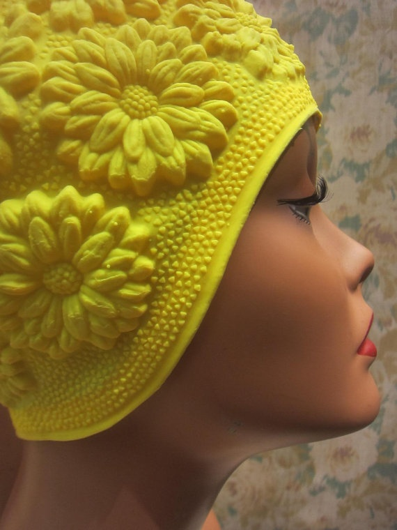 1960s Style Swim Cap  Yellow Daisies by loveintheafternoon on Etsy, $45.00