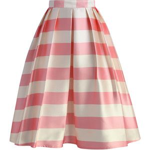 Chicwish Candy Pink Striped Midi Skirt