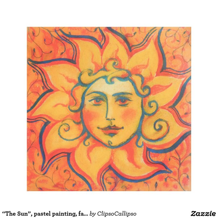 """The Sun"", pastel painting, fairytale art Canvas Print #sun, #face, #sunface, #orange, #celestial, #sol, #invictus, #folklore, #folkart, #decorative, #fairytale, #art, #painting, #drawing, #red,  #solstice, #midsummer, #Jarylo, #Yarylo, #Iarilo, #Gerovit, #slavic, #pastel, #pastels, #softpastels, #colorful, #pagan, #ornated, #russian, #style, #illusration, #summer, #spring, #folkloric, #golden, #smiling, #fabtasy, #mythology, #burning, #shining, #yellow, #saturated, #vibrant"