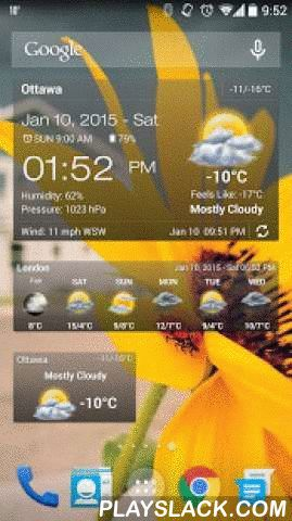 Weather & Clock Widget Android  Android App - playslack.com ,  Weather & Clock Widget for Android, provides detailed current weather observation and weather forecast for all world locations, it searches for your address automatically, and provides the current temperature in Celsius and Fahrenheit. It also provides current weather condition, relative humidity, atmospheric pressure, visibility distance, precipitation in different unites, ultraviolet Index (UV index), dew point, wind speed…
