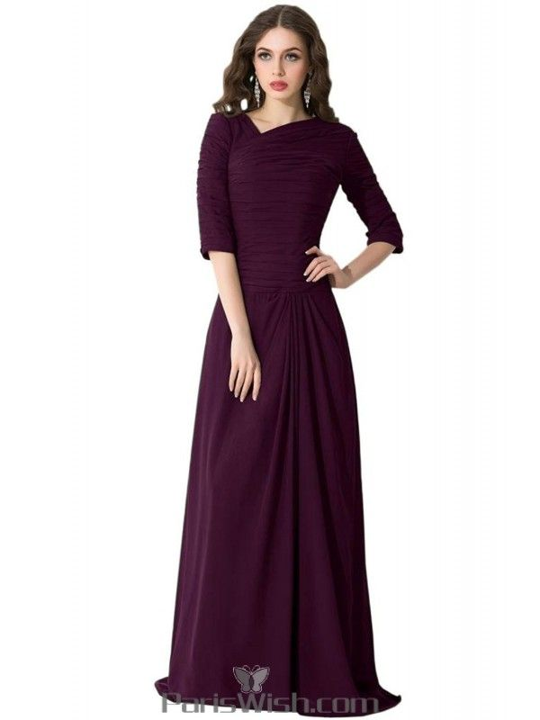 Pleated Chiffon Modest Prom Gowns Grape Bridesmaid Dresses With Sleeves at $157.99