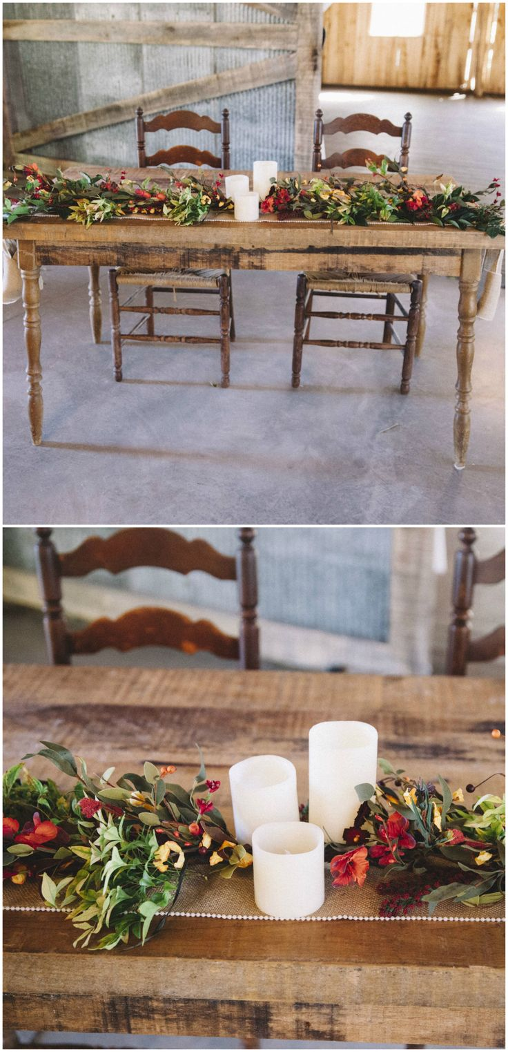 Barn Wedding Reception Sweetheart Table, White Candles, Autumnal Leafy  Garland, Wooden Furniture /