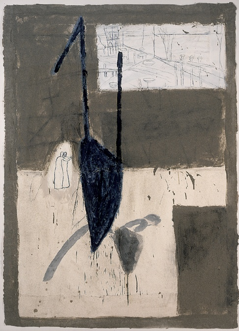 Mimmo Paladino Untitled (Vernoiche), 1988 mixed media and gauze on paper 64 1/4 x 47 1/4 inches 163.2 x 120 cm