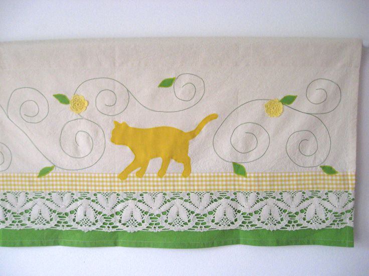 Yellow Cat Valance Lace Farmhouse Window Treatment Country Chic Cottage Kitchen Curtain Green Yellow Kids Room Baby Nursery Bohemian Decor by TalesSweetTale on Etsy https://www.etsy.com/listing/234371644/yellow-cat-valance-lace-farmhouse-window