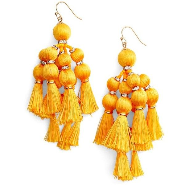 Women's Kate Spade New York Pretty Pom Tassel Drop Earrings ($98) ❤ liked on Polyvore featuring jewelry, earrings, yellow, kate spade charm, yellow jewelry, yellow tassel earrings, sparkly earrings and pom pom charm