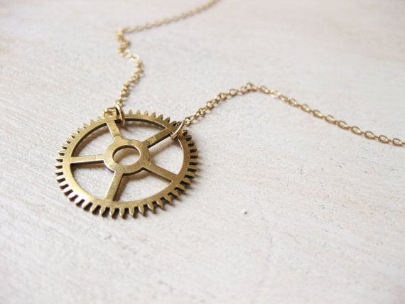 """Long Steampunk Necklace - vintage clock gear and gold chain - """"Mad Men"""""""