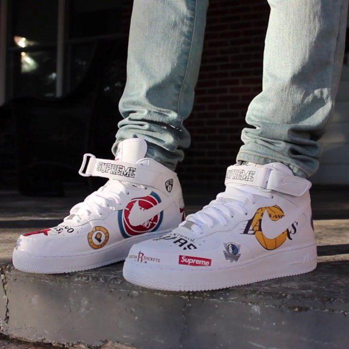 Air Force 1 Mid 07 Supreme White Petagadget White Nike Shoes Nike Shoes Air Force Custom Nike Shoes