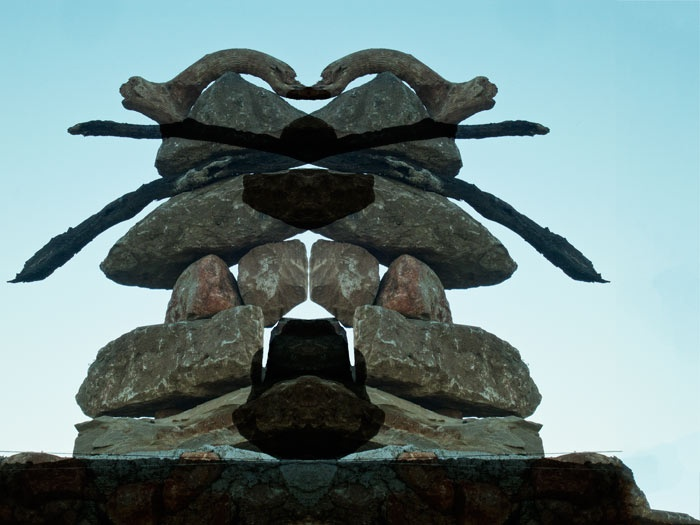 Warrior is my new Totem.  Photograph of a rock sculpture.