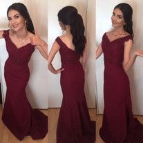 Burgundy Long Prom Dresses Mermaid Off Shoulder V-Neck Lace Appliques Beaded Backless Formal Evening Dress Party Gowns from better4u