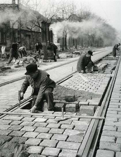 fixing the trolley tracks in Budapest