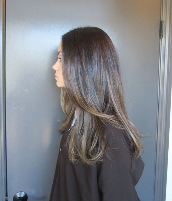 highlights for dark brown hair to cover grey