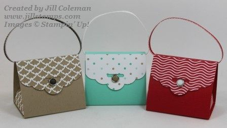 Scalloped Tag Topper Punch Purses and Video by jillastamps - Cards and Paper Crafts at Splitcoaststampers