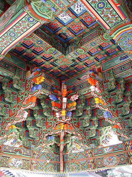 Korea-Gangwon-Woljeongsa Entrance Gate, ceiling of the entrance gate at Wolijeongsa.  From Wikipedia: One of the worship halls at Woljeonsa. Woljeongsa is a head temple of the Jogye Order of Korean Buddhism, located on the eastern slopes of Odaesan in Pyeongchang County, Gangwon Province, South Korea. Woljeongsa was founded in 643 by the Silla monk Jajang.