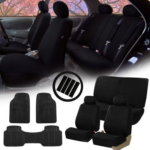 Black Car Seat Covers for Auto w/Steering Cover/Belt Pads/Floor Mats
