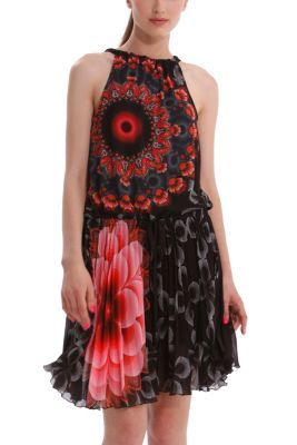 Desigual women's Ressar gauze dress with a pleated skirt and adjustable drawstring neckline.