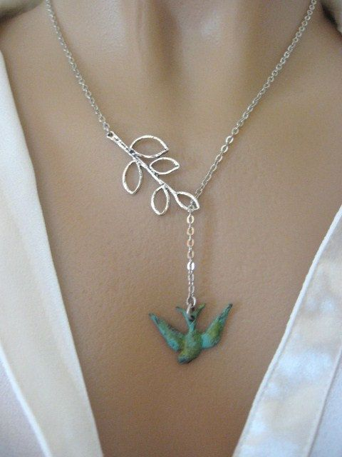 Branch Necklace, Bird Necklace, Leaf Necklace, Bird Jewelry, Verdigris Swallow Bird, Silver Branch Necklace
